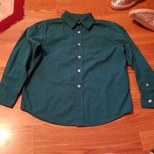 Size 8-10 button up pocket dark green w/navy strip